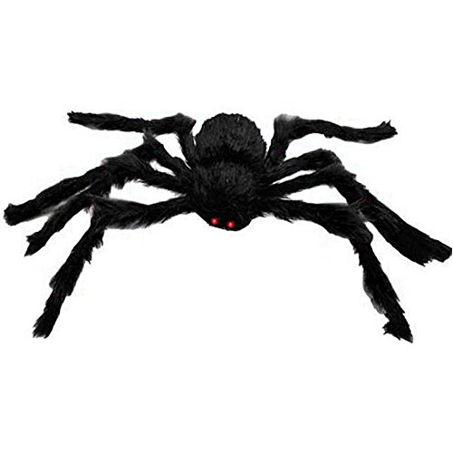 JoinPro Large Halloween Spiders 4.9 Feet Size Long Plush Scary Spider That Look Real for Party Bars Home Decorations,Black (Decorative Spiders)