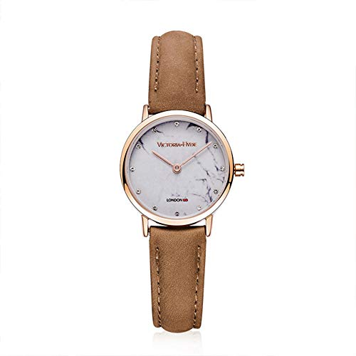 VICTORIA HYDE Ladies Waterproof Analogue Quartz Watch Rose Gold Case Brown Leather Gift Box for Women