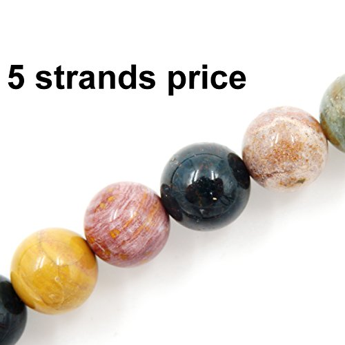 - Malahill semiprecious Stone Beads for Jewelry Making, Sold per Bag 5 Strands Inside, Ocean Agate 8mm