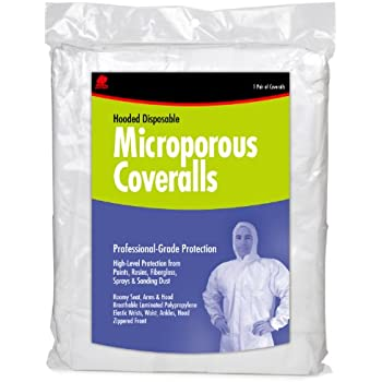 Buffalo Industries (68254) Hooded Microporous Disposable Coverall - Size Large