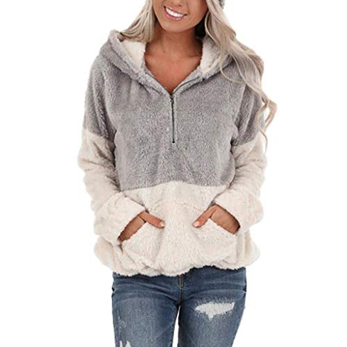 KANGMOON Women's Color Block Hooded Pullover Long