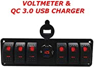 4.8 AMPS Blue-Fast Dual USB Socket Charger W/V-Meter for Boats, Polaris RZR 900, RZR 1000, Ranger, Mobile Home