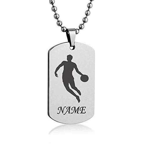 Personalized Sport Silhouette Customize Engrave Message Name Dog tag Necklace Pendant 24 inch Stainless Steel Chain Giftpouch and Keyring - Message Basketball Ring
