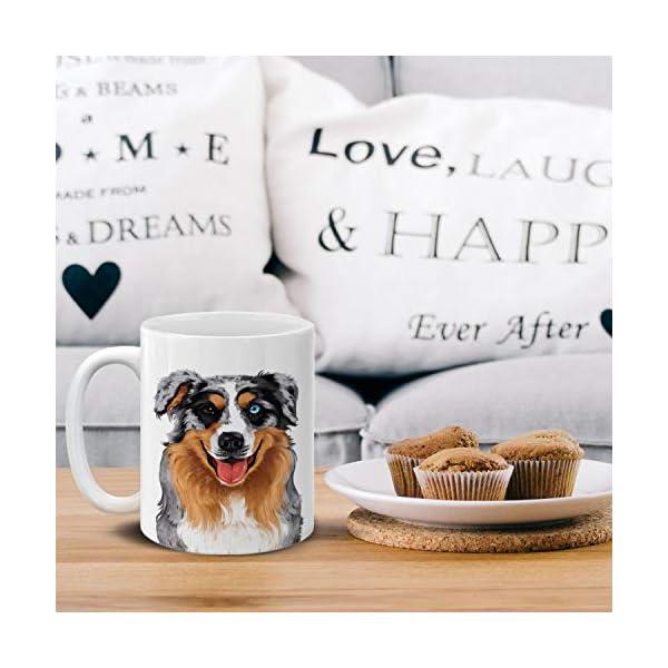 MUGBREW Cute Merle Aussie Australian Shepherd Dog Full Portrait Ceramic Coffee Gift Mug Tea Cup, 11 OZ 5