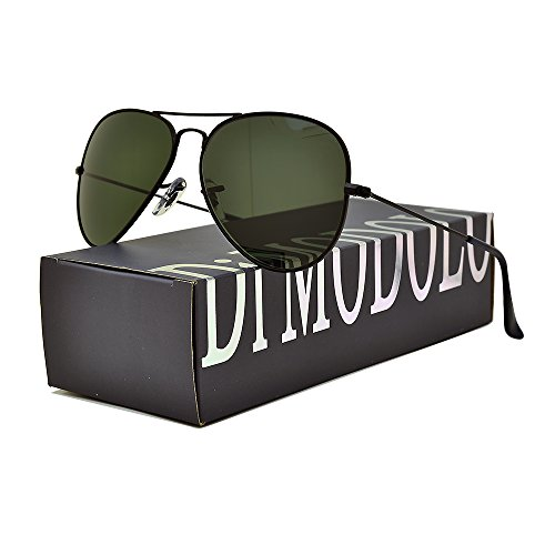 Actual Glass Lens and Polarized Multiple Color Options. Fishion Matte Metal Frame Aviator Sunglasses UV400 (Frame: Matte Black / Lens: Green, Polarized - Matte Sunglasses Aviator Lens