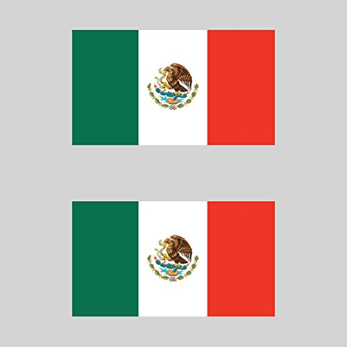 Two Pack Mexican Flag Sticker FA Graphix Decal Self Adhesive Vinyl mexico