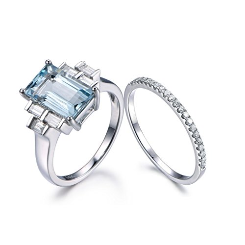 blue aquamarine wedding ring set6x11mm emerald cut gem 14k white gold diamond half eternity - Aquamarine Wedding Ring