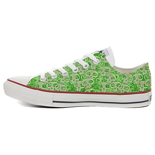 unisex Sneaker et artisanal Imprimés Star Personnalisé produit Converse Low Skull Green All Italien WqHwO6Fa