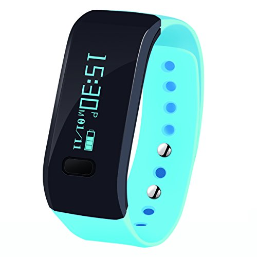 Megadream Waterproof IP65 Intelligent Activity Fitness Tracker with Pedometer Tracking & Sleep Quality & Health Sport Monitoring Smart Wristband Fitness Tracker Bracelet for iPhone & Android - Blue
