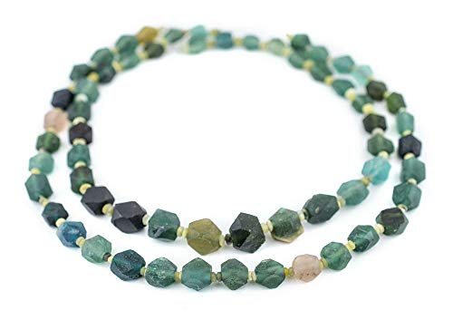 (TkThebead Afghanistan Green Faceted Large Hole, Diamond Cut Ancient Roman Glass Beads 9mm)