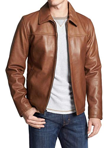 (RedSeam Men's Genuine Lambskin Leather Motorcycle Slim Fit Biker Bomber Jacket RM60 (Large (Fit to Chest 40