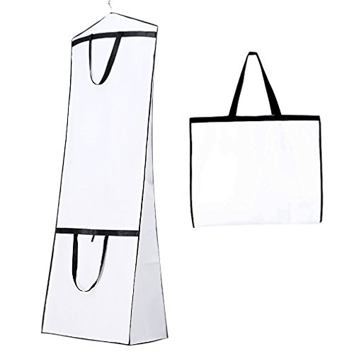 Breathable Wedding Dress Garment Bag Dust Cover Storage Travel Bag Foldable Protective Cover for Wedding Gowns, Bridal Gown, Evening Gown (White) by Shsyue®