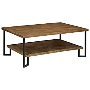 """Stone & Beam Bernice Industrial Parquet Wood Coffee Table, 42""""W, Natural/Black"""
