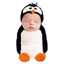 Newborn Baby Crochet Knitted Photography Props Animal Costume Set Penguin Sleeping Bag