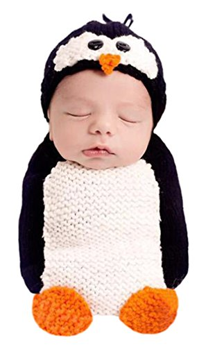 Newborn Baby Crochet Knitted Photography Props Animal Costume Set Penguin Sleeping Bag (Cute Little Girl Halloween Costumes)