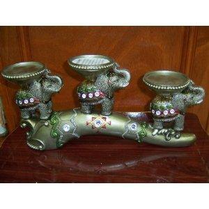 Thai/indian Style 3 Elephants Figurine Candle Holder - 14''x7''x3''