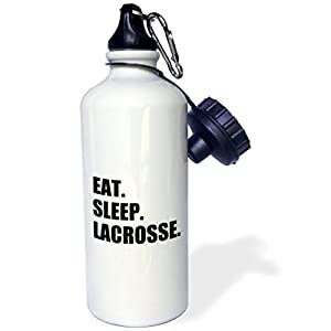 3dRose wb_180418_1 Eat Sleep Lacrosse-Gifts for Sport Enthusiasts Lax Crosse Black Text Sports Water Bottle, 21 oz, White