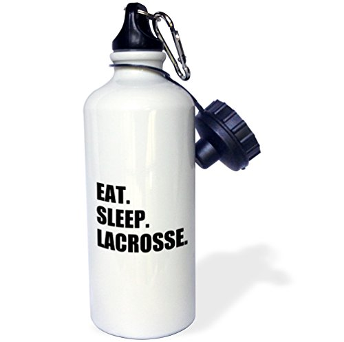 3dRose wb_180418_1 Eat Sleep Lacrosse - Gifts For Sport Enthusiasts Lax Crosse Black Text Sports Water Bottle, 21Oz, Multicolored by 3dRose (Image #1)
