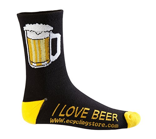 eCycle Men's Beer Mug Cycling Socks Large Black/Yellow by eCycle