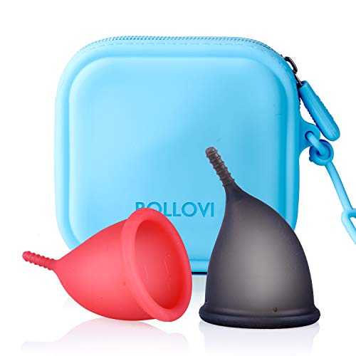 Menstrual Cups Set, Support Low Cervix and Light or Heavy Flow, Pad and Tampon Alternative, Soft, Flexible and Reusable, Beginner Safe with Travel Storage Bag (Large, Red&Black)