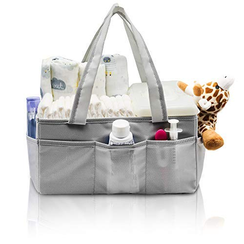 Baby Diaper Caddy and Changing Table Organizer | Portable Nursery Tote and Stroller Bag for Newborn Infants & Toddlers | Removable Divider, 8 Inner Pockets | Girls, Boys