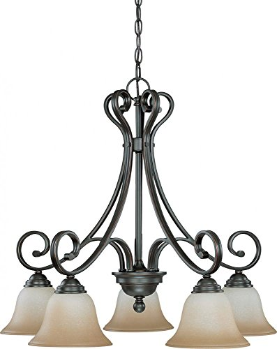 Nuvo 60/2743 5 Light Arm Down Chandelier with Champagne Linen Glass