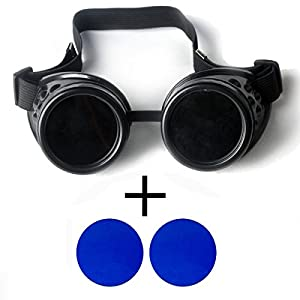 New Sell Vintage Steampunk Goggles Glasses Welding Cyber Punk Gothic – Black Frame with 2 Lens