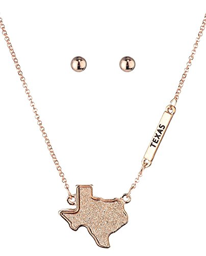 Women's Druzy Texas State Pendant Necklace and Ball Earrings Set, Rose Gold-Tone