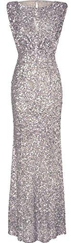 2017 new sexy sleeveless sequined dress dress slim halter dress explosion Silber