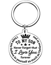 I Love You keychain Inspirational Gifts Keychain to Son Birthday Christmas Gifts Keyring to boys from Mom Dad Never Forget That I Love You (To My Son Keychain)