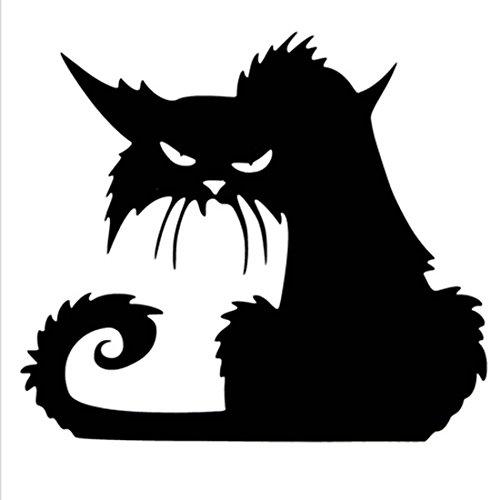 Fange DIY Removable Halloween Scary Black Cat Vinyl Waterproof Wall Stickers Glass Decor Window Decal Sticker 5.7''x5.3'' ()