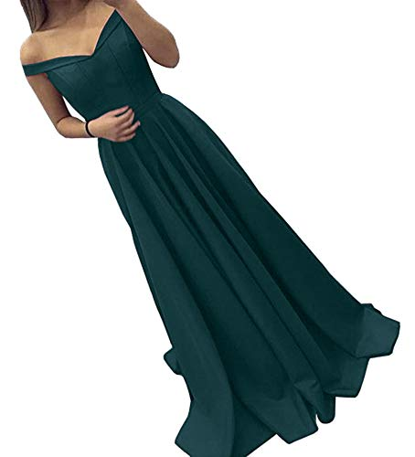 Homecoming Dress Teal (Dressylady Off The Shoulder A Line Long Prom Homecoming Dress Evening Gowns Teal 4)
