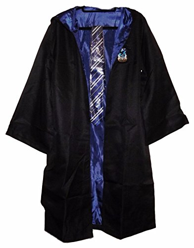 Harry Potter Hogwarts Robes (Harry Potter Ravenclaw School Crest Adult Size ROBE With Hood and Tie (Medium))
