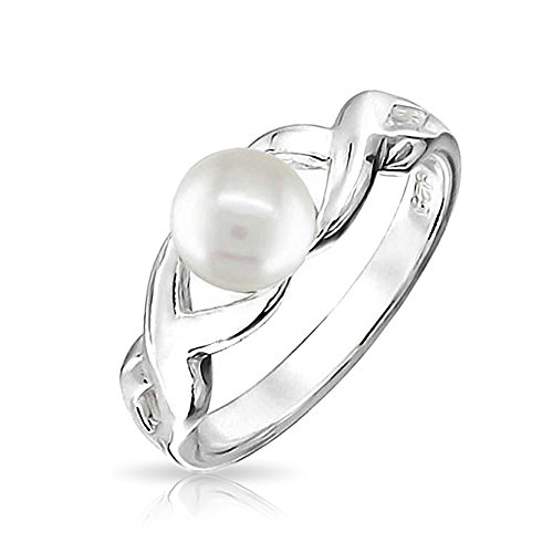 - Love Knot Freshwater White Cultured Pearl Infinity Promise Ring For Women For Girlfriend 925 Sterling Silver