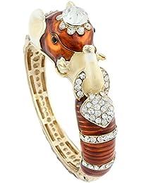 Women's Austrian Crystal Brown Enamel Adorable Elephant Bangle Bracelet Clear Gold-Tone