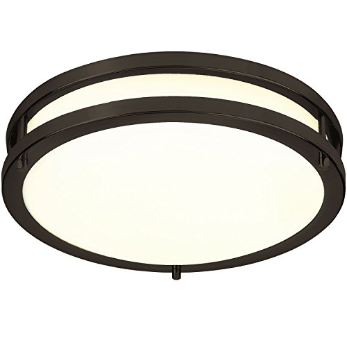 (LB72120 12-Inch LED Flush Mount Ceiling Light, Oil Rubbed Bronze, 3000K Warm White, 1050 Lumens, Dimmable)