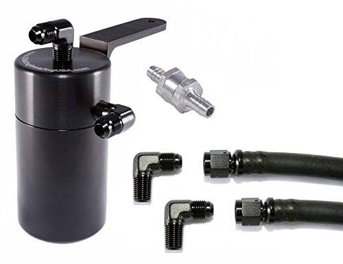 Elite Engineering Standard PCV Oil Catch Can & Hardware with Black AN Fittings, Check Valve & Clamps for 2004+ GTO - BLACK