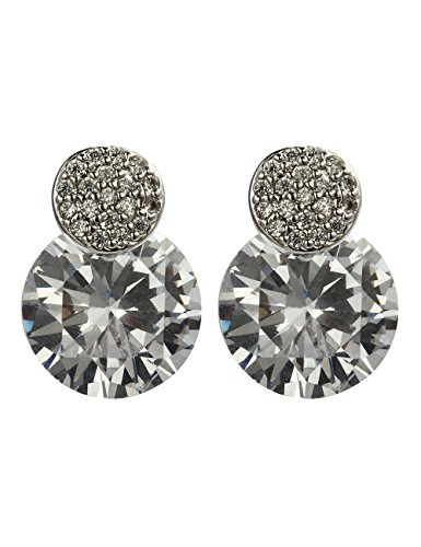 - Aidaila Sparkle 18K White Gold Plated Stainless Steel Brilliant Cut Round CZ Stud Earrings Jewelry Gift for Girls Women
