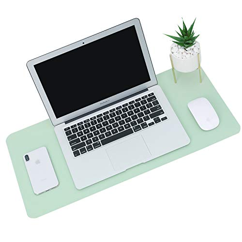 Office Desk Pad Gaming Mouse Mat - Desk Decor Non-Slip Spill-Resistant, Thick Extended PU Leather Desk Blotter 31.5×15.7in - Green