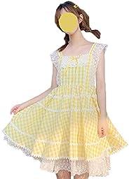 Cute Plaid Dress for Teen Girls Lace Patchwork Sleeveless Sweet Lolita Summer Dresses