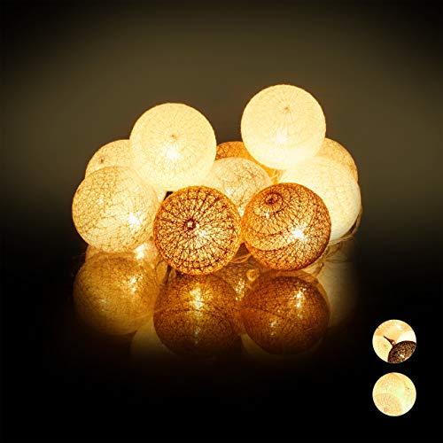 Relaxdays, weiß-grau-braun LED Lichterkette mit 10 Baumwollkugeln, batteriebetrieben, Stimmungslichter, Kugeln 6 cm Ø, PS, Baumwolle