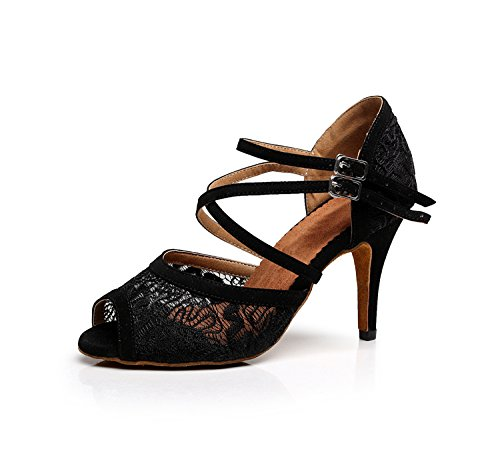 Latin Wedding 8 US Lace Floral Black Sandals Ballroom 5 TQJ3005 Evening Shoes Tango Minitoo M Women's Dance FPaxwqY