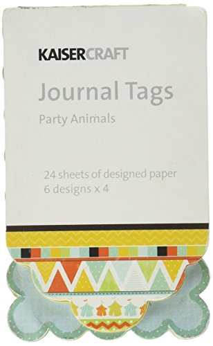 - Kaisercraft Party Animals Journal Tags Die Cut Paper Pad, 2-Inch by 3-1/2-Inch, 24 Sheets
