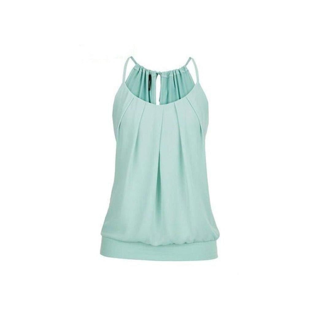 Chrikathy Loose Wrinkled O Neck Sleeveless Tank Tops Vest Women Summer T-shirt by Chrikathy Tops & Tees