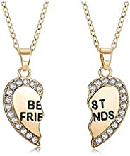 BFF Best Friend Necklaces for 2/3/4 Girls,Rhinestone Crystal Matching Heart Friendship Pendant Necklace Gift f