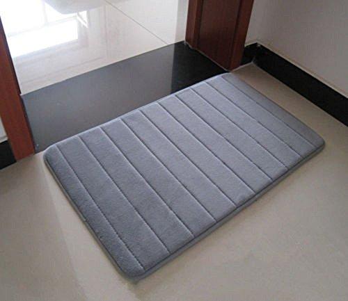 DIS Badvorleger Badematte Badteppich, Anti-rutsch, 3 Farben, 2 Größen grau 40x60 cm