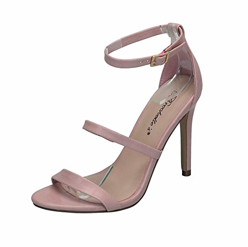 Breckelles Womens Paso-21 Strappy Stiletto Heels Light Pink JcC26