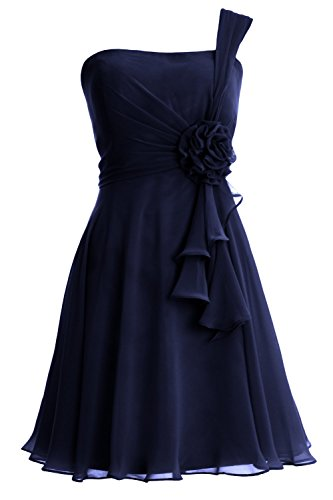MACloth Women One Shoulder Short Bridesmaide Dress Wedding Cocktail Party Gown Azul Marino Oscuro