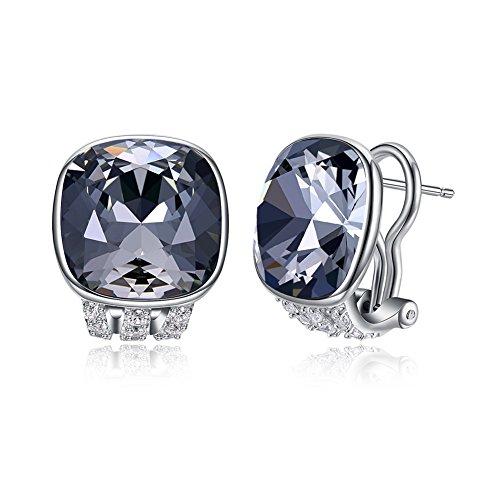 (Vogzone Swarovski Crystal French Clip Earrings Piercing Silver CZ Stud Earrings for Women Wedding)
