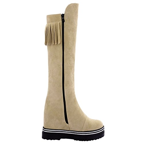 AIYOUMEI Damen Plateau Keilabsatz Kniehohe Stiefel mit Fransen und 8cm Absatz Bequem Modern Langschaft Stiefel Aprikose